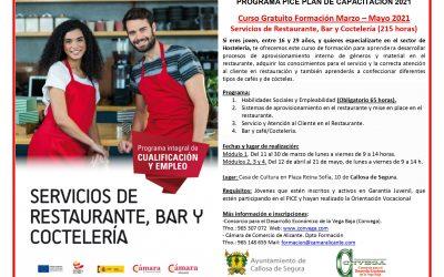 Jóvenes de Callosa de segura se formarán en hostelería con el programa PICE de la cámara de Alicante